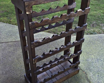 Wooden Wine Rack, Reclaimed Wood, Wine Rack, Rustic Wine Rack