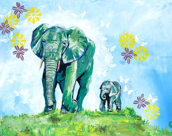 Mommy and Baby Elephant with Butterflies- Fine Art Print