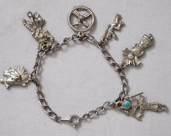 Antique Charm bracelet vintage, western/Indian 1940's