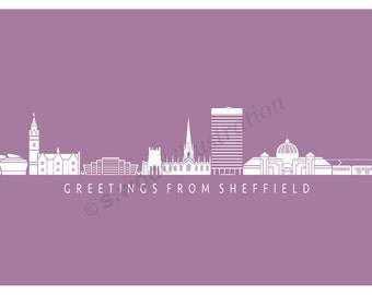 Sheffield Silhouette Greeting Card - Pink
