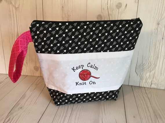 Zippered Knitting Bag : Large knitting project bag zippered by