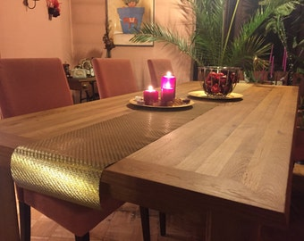 Dining table from oak: finger-jointed handcrafted dining table in oak. 2200x980x750mm (WxDxH)