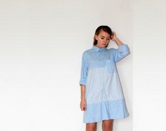Shirt Dress, Reworked Vintage, Light blue, Shirts, Pleats, A Line