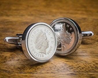 18th birthday 1999 five pence coin cufflinks