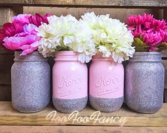 Baby pink and silver glitter mason jars