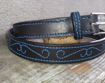 Black leather belt with blue decoration