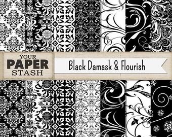 Damask Digital Paper, Damask Scrapbook Paper, Black & White, Black Damask, Gothic Scrapbook, Elegant Scrapbook, Flourish Patterns, Filigree