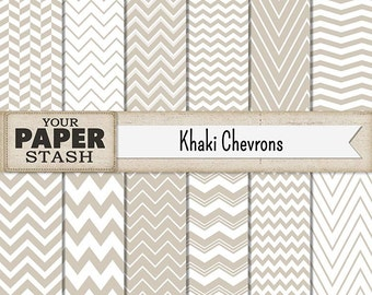 Chevron Digital Paper, Khaki Chevron, Beige Chevron, Neutral Colors, Digital Paper Pack, Zig Zag, Scrapbooking, Commercial Use, Download