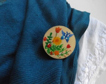 spring flower brooch ~ hand painted floral brooch ~ colourful woodland brooch ~ fun jewellery ~ brooch for flower lovers ~ gifts for mums