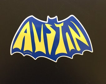 Austin Bat Sticker - Austin Texas - Vintage Batman Logo