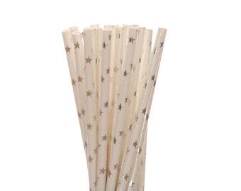 Paper Straws, Silver Foil Star Paper Straws, Silver Sweet 16 Party Decor, Bling Polkadot Bachelorette Straws, Glam Birthday Party Supplies