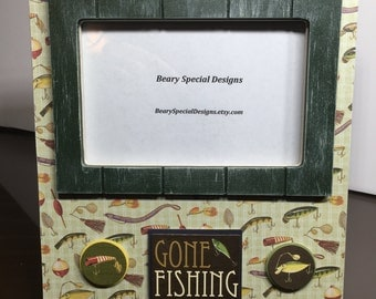 Father's Day Gone Fishing Fishing Lure Fishing Trip Photo Frame Father's Day gift for Dad