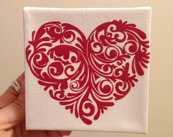 Heart on 4x4 Canvas