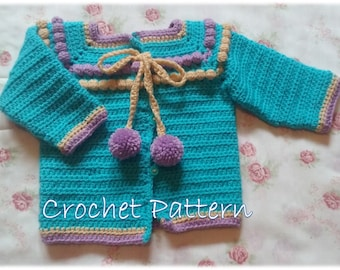 Crochet Pattern Baby Bobbles Sweater for 18 months