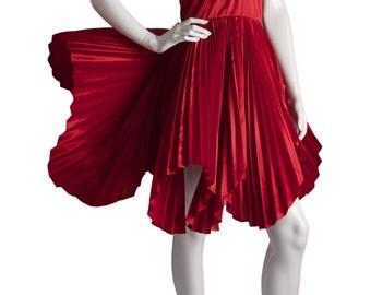 Vintage William Travilla Red Plunging Halter Pleated Dress 1970s UK 8/10