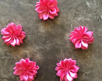 Decorative Flowers, PINK, small flowers, satin flowers, wedding flowers, head band supply, head bands, silk flowers, roses, flowers