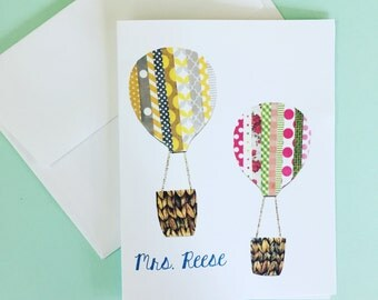 Hot Air Balloon PERSONALIZED Notecards, Sets of 10 Notecards & Envelopes, Teacher Gift