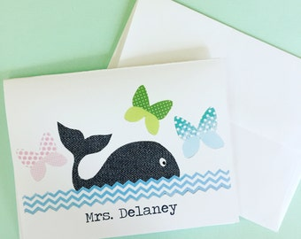 Whale & Butterfly PERSONALIZED Notecards, Set of 10 Notecards and Envelopes, Teacher's Gift