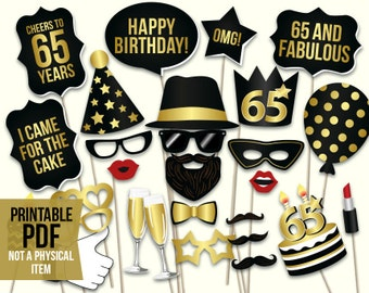 Birthday photo booth props: printable PDF. Black and gold birthday party supplies. Instant download. Mustache, lips, glasses, happy birthday