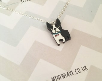 Boston Terrier Necklace, Boston Terrier, Boston Terrier, Dog jewellery, pet jewellery, wooden laser cut pendant, dog necklace, dog lover