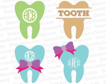 Tooth SVG Dentist Cut Files, Vinyl Cutters, Monogram Cricut Files, Screen Printing, Silhouette Studio, Die Cut Machine Instant Download