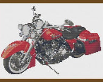 Harley Road King Motorbike Cross Stitch Kit by Florashell Cross Stitch Design