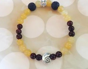 Citrine and garnet aromatherapy bracelet