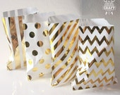 25 Gold Mixed Designs Favor Bags 5x7 Gold Foil Candy Bags Paper Party Sacks Gold Gift Bags Gift Wrap