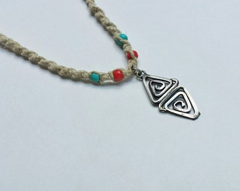 Triangle spiral hemp necklace with red and blue beads