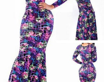 Coloful Labyrith-Maxi-Print-Dress