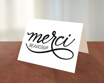 merci beaucoup minimalist french thank you greeting card