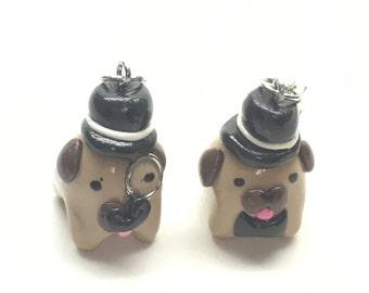 Polymer Clay Gentleman Pug Charm *ONE CHARM*
