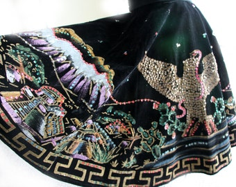 Vintage 1950's Hand Painted Mexican Circle Skirt