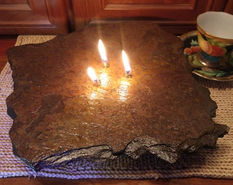 Items Similar To 3 Wick Rock Stone Oil Lamp Candle For