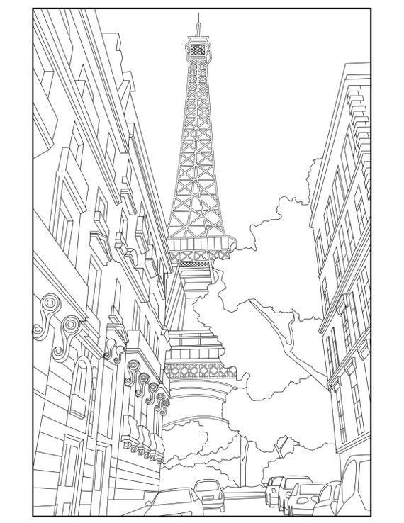paris eiffel tower coloring pages - eiffel tower adult coloring page coloring paris france