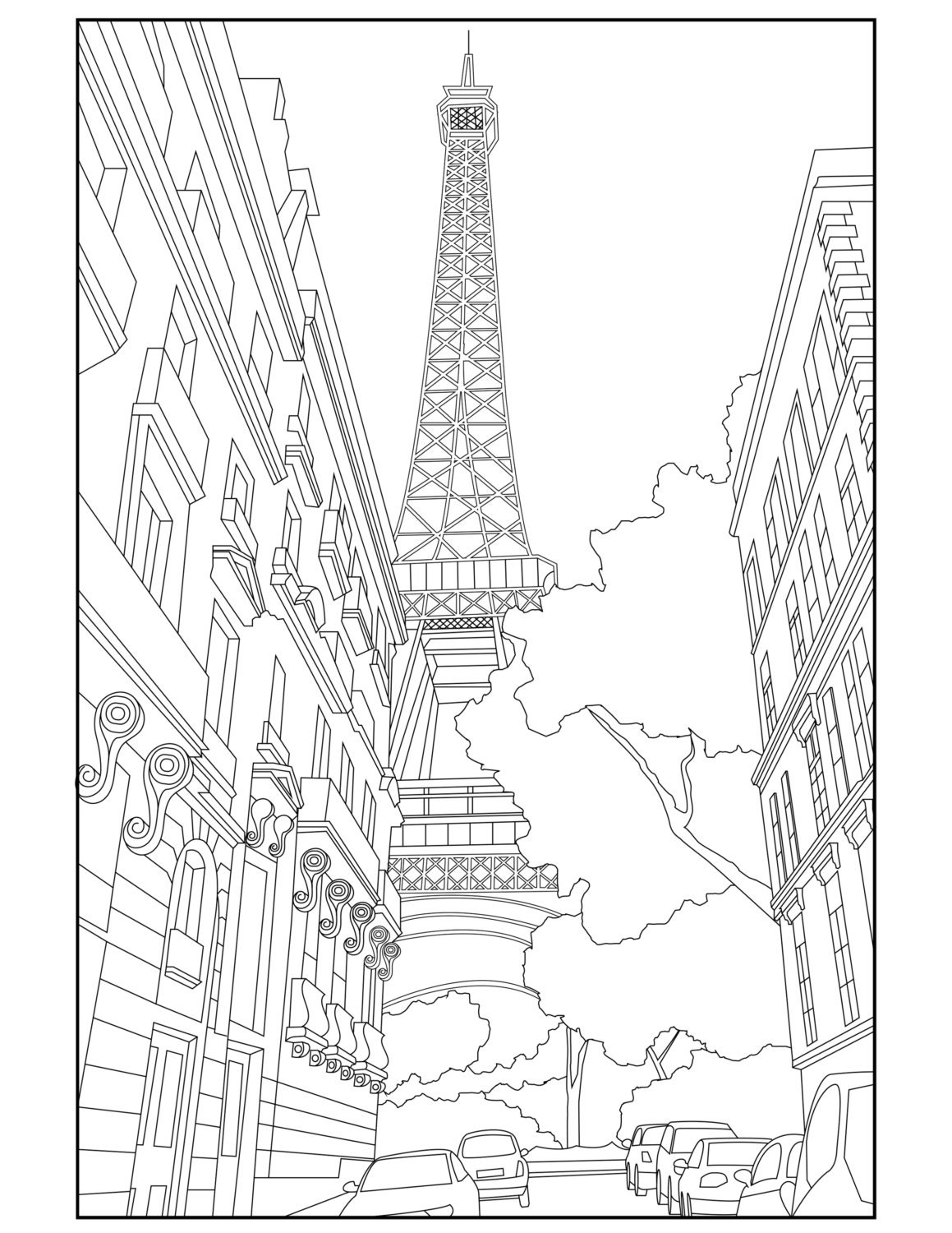 Eiffel Tower Adult Coloring Page Coloring Paris France