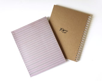 Large Blank Page Wire Bound Notebook 8.5 x 11 - Black Lines