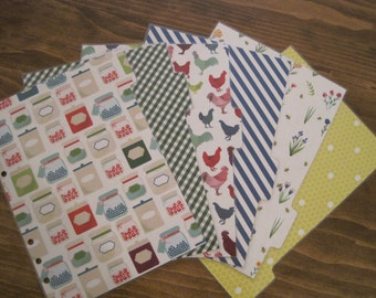 Set of Six Farmer's Market/Country Themed Dividers for Your A5 Sized Filofax