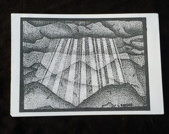 """God Smiles or Sun on Moumtains. 4"""" X 6"""" print on cardstock."""