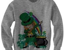 St. Patrick's Day Sweater Dabbin' Leprechaun Shirt Leprechaun Costume Funny Shirt Irish Gifts Unisex Sweatshirts Party Shirt #Dab Plus Size