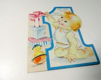 unused vintage greeting card happy birthday 1 year old children's