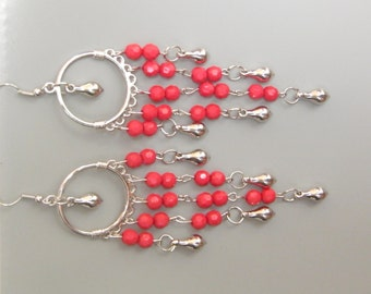 Red long chandelier earrings, crystal earrings, silver sterling hooks earrings, gift for her, 925 silver sterling earrings hook