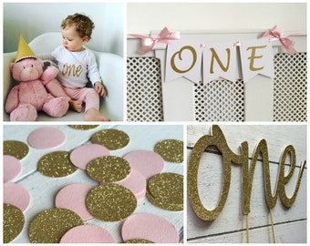 ONE First Birthday Party Decorations Pack. Pink and gold. ONE Cake Topper. Highchair banner. Birthday outfit iron on. Pink & Gold confetti