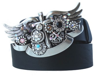 GAGA black leather belt buckle