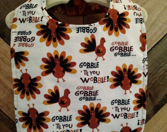 Thanksgiving Turkey and Fall Acorn Bib