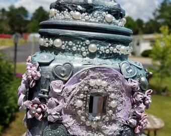 """Mixed media decorative jar """"Pretty Secrets"""""""