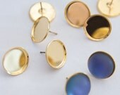 DIY Jewelry - 14K Gold Plated Round 15mm Cabochon Earrings Project  - Glue Your Own Favorite Stones - DIY KIT