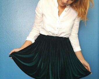 Dark Green Velvet Skirt