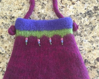 Hand knitted felted purse handbag