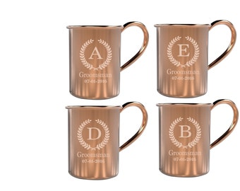 Set of 4 Custom Etched Copper Moscow Mule Groomsmen Mugs, Custom Engraved Wedding Mugs, Groomsmen Copper Mugs, Monogrammed Copper Mug